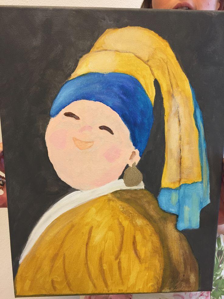Eén van mijn cursisten heeft Dame met de gouden parel geschilderd bij Irene's Atelier.