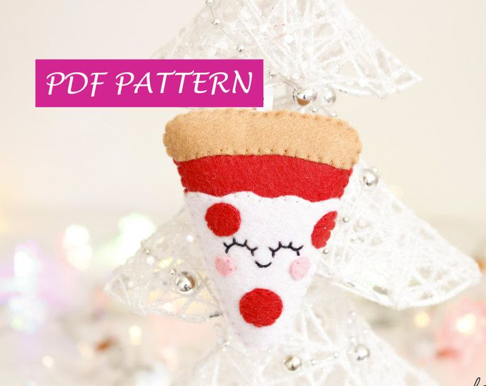Pizza addobbo pattern feltro, PDF fai da te facile, fetta di pizza, guida passo passo, addobbo albero di Natale, decorazioni fatte a mano