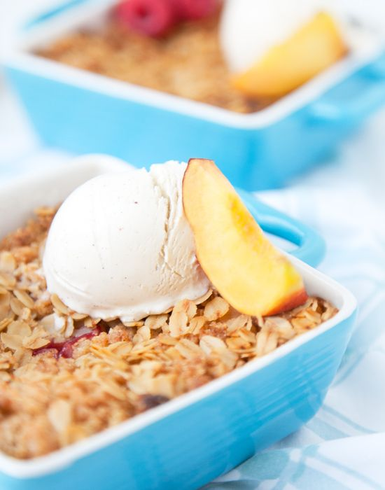 Peach Raspberry Crisp. Bet it would be awesome with cherries too...