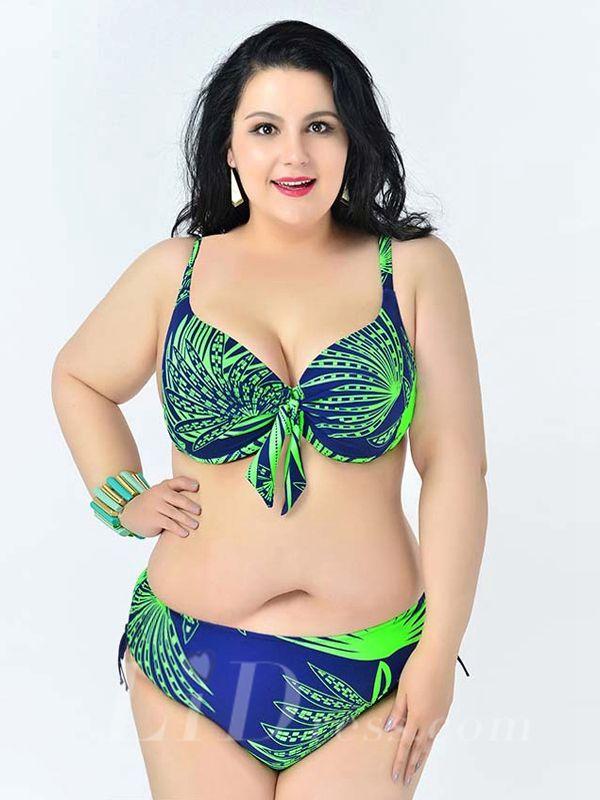 Green Leaf Printed Sexy Halter One-Piece Plus Size Bikini Lidyy1605241082