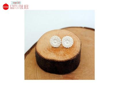 Honey Flower recycled silver stud earrings