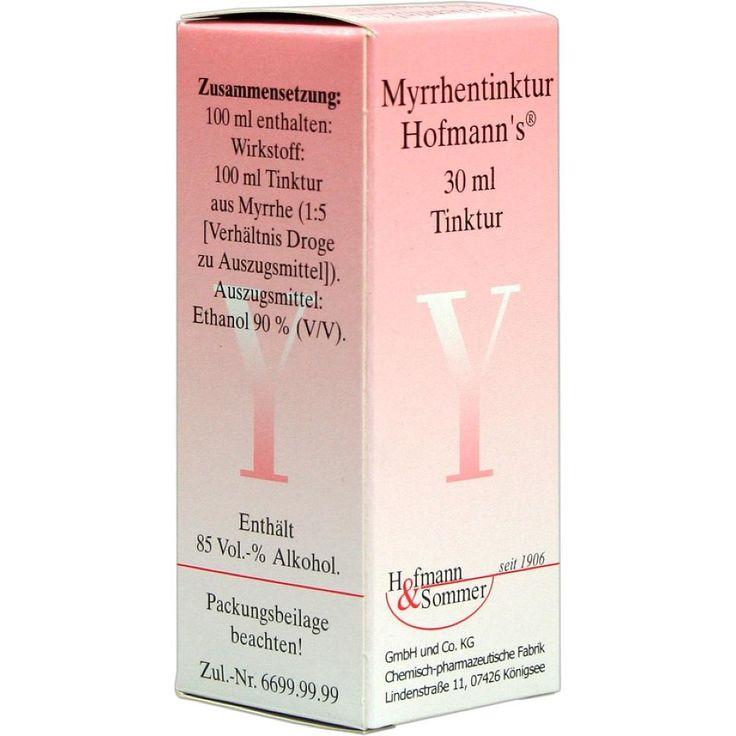 MYRRHENTINKTUR Hofmanns:   Packungsinhalt: 30 ml Tinktur PZN: 00691091 Hersteller: Hofmann & Sommer GmbH & Co. KG Preis: 1,87 EUR inkl.…