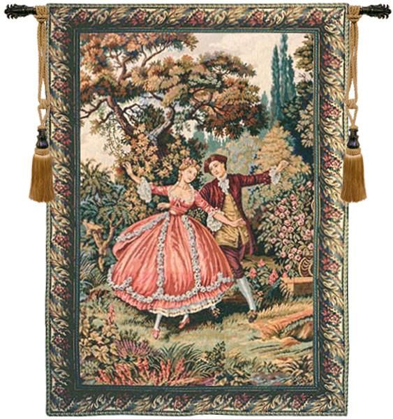 Woven in Italy History: Danza is an Italian jacquard woven wall tapestry. The artwork is a rendering of a work by Francois Boucher (1703 – 1770), a French paint