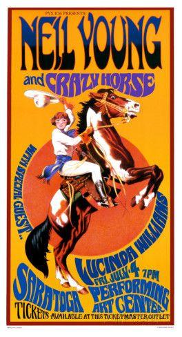 Concertposter Neil Young and Crazy Horse, Engelse tekst Kunstdruk