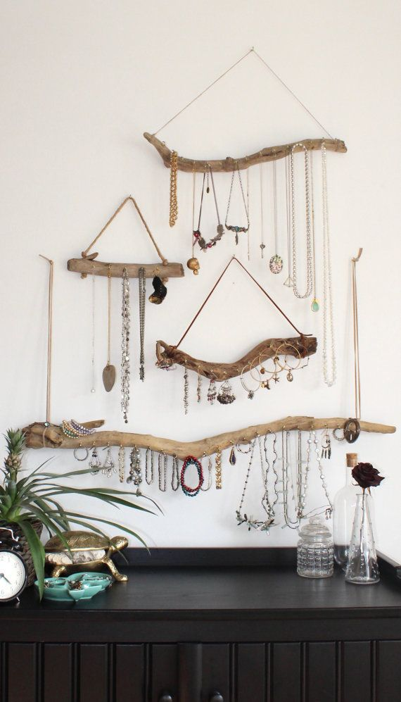 Driftwood Jewelry Display Wall Mounted Jewelry Organizer Necklace Storage… Mais