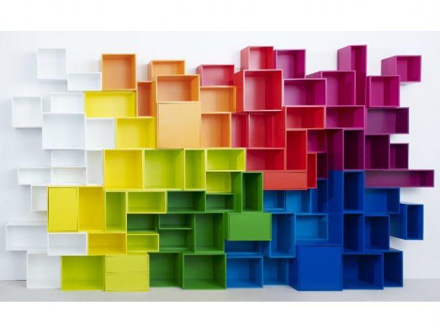 Rangements muraux cubes colores cubit