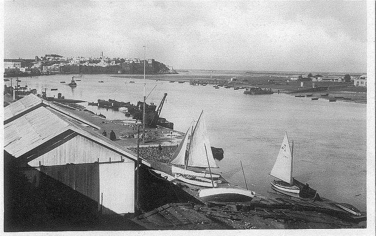 Club de voile de Rabat sur les bords du bouregreg dans les années 50/60, maroc