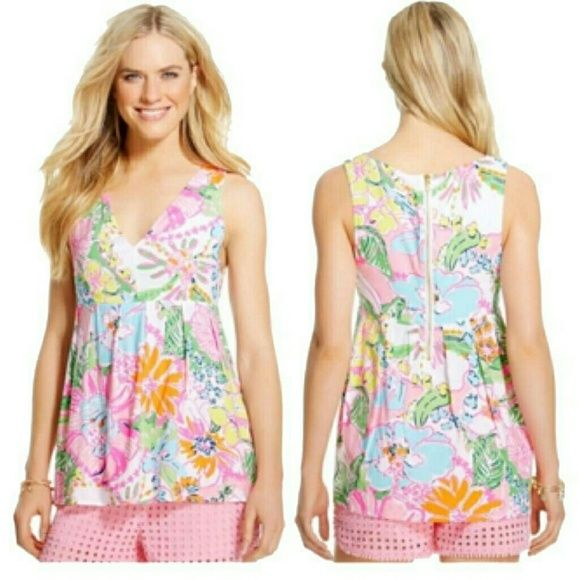 Lily Pulitzer for Target baby doll tank top Beautiful vibrant floral baby doll Lily tank top. Only worn once! Like new Lilly Pulitzer for Target Tops Blouses