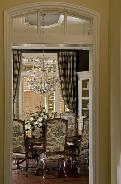 The elegant chateau toile and plaid french faves for Black and cream dining room ideas