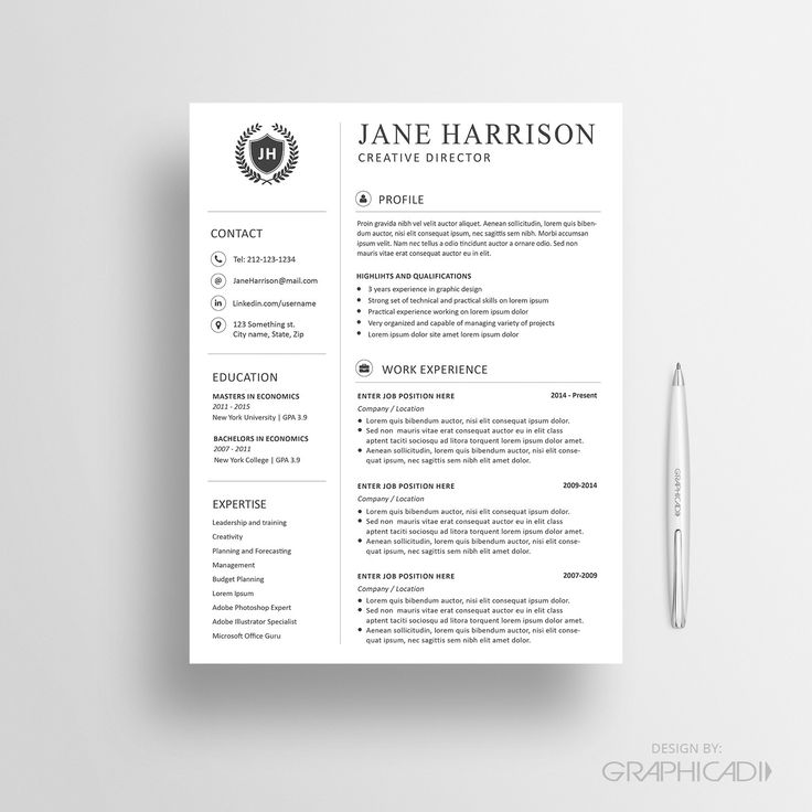 24 best Resume Templates images on Pinterest Cv resume template - reference page format resume