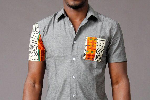Chemise à manches courtes kente Chambray