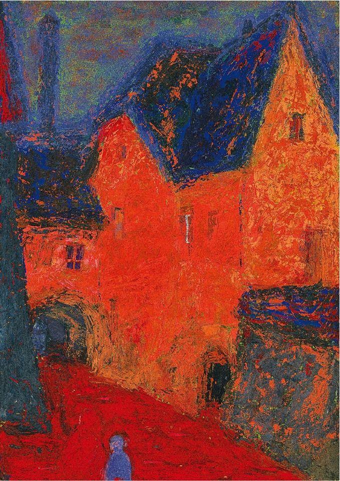 "Zyslina Natalya. ""Orange house. Tallin"". 1962   Зыслина Наталья Николаевна  Оранжевый дом. Таллин. 1962"