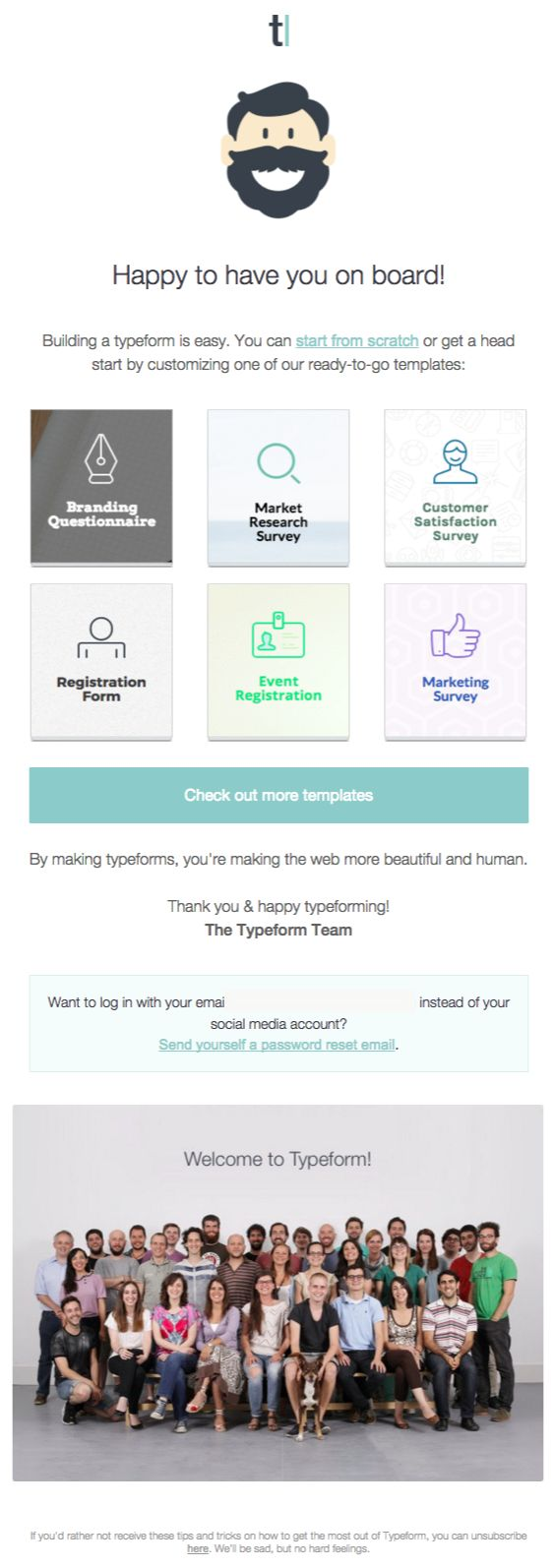 Typeform welcome email