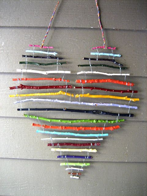 Sweet camping craft! Find twigs, plan your heart and break to size. paint each a different colour. tie up with strings. Or paper clips! Or wrapped wire. Finish with string to hang. Or electrical wire