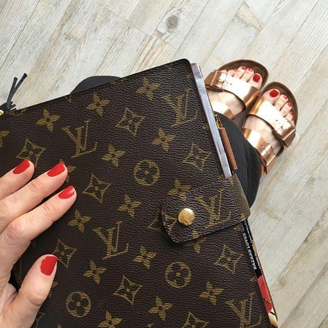 Louis Vuitton Agenda GM (and gold Birkenstocks) via @gritandglamour