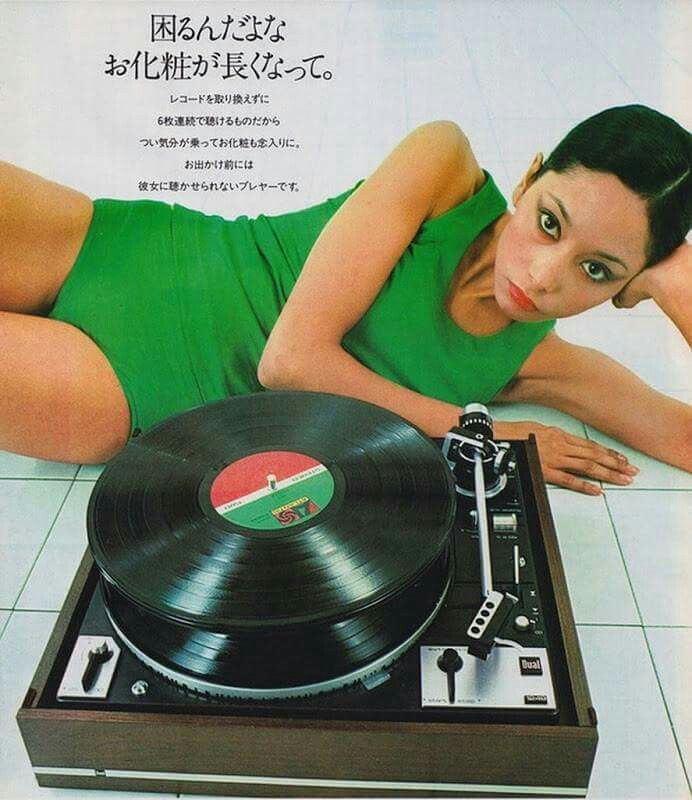 Vintage Audio Dual turntable Ad Dual may have been a great turntable but you DON'T stack your records if you want to take good care of them..duh!