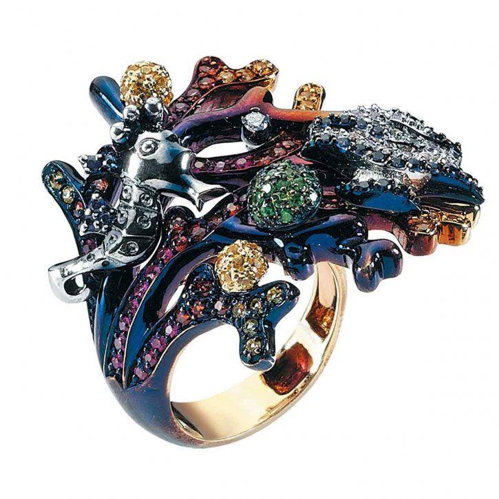 Multi-coloured gemstone, and diamond ring by Roberto Bravo