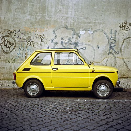 Fiat 126 - My mom used to drive it in the 80's, then a Mini Cooper came along