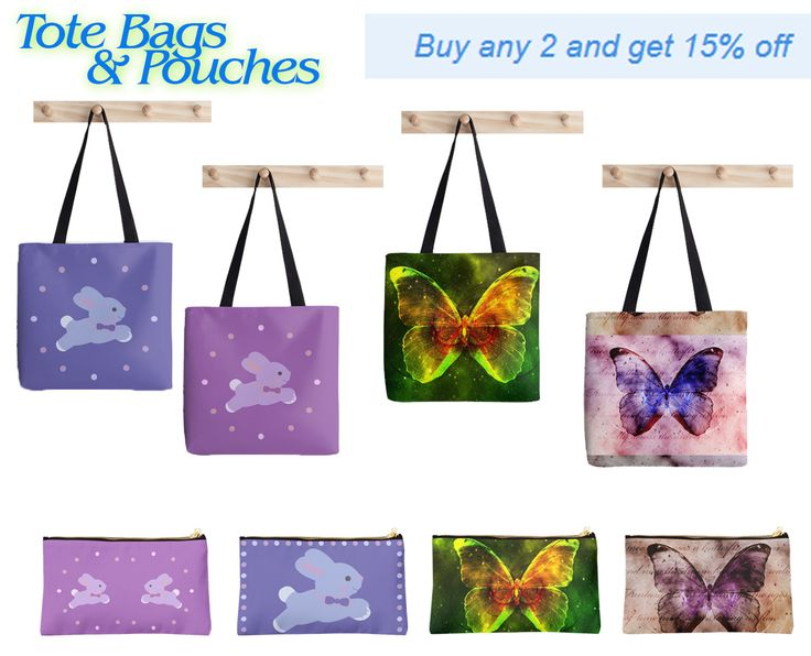 Tote Bags & Pouches Buy any 2 and get 15% OFF #sales #babybunny #babygifts #babyshower #bunny #cute #funny #cutegifts #giftsforher #giftsforkids #mummygifts #newmommy #mommy #totebag #buycutebag #pouches #buypouches #butterfly #butterflybag #butterflypouch #organize #buygifts #discount #redbubble