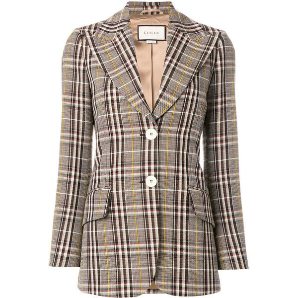 Gucci plaid fitted blazer ($3,218) ❤ liked on Polyvore featuring outerwear, jackets, blazers, fitted blazer jacket, plaid blazer, tartan blazer, fitted blazer and slim fit jackets