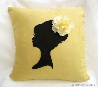 Elegant Cameo Yellow Black Cushion Cover. Romantic Girl Flor   SmilingCloud MISI Handmade Shop