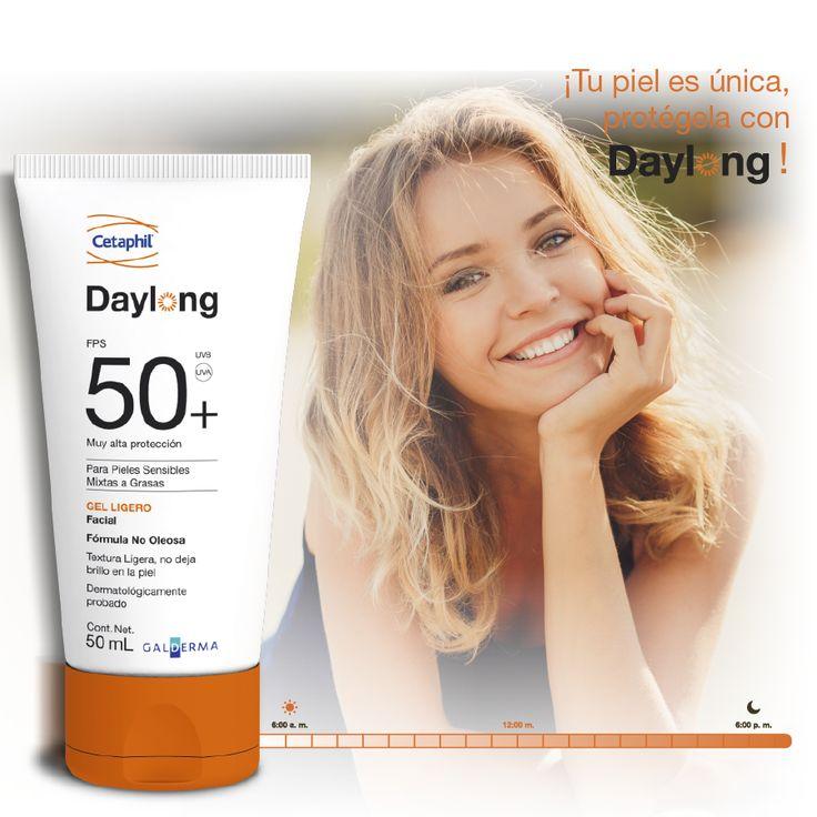 Daylong™ SPF 50+ Gel Ligero 50 mL y 100 mL ha sido desarrollado especialmente para piel grasa o sensible, ideal para pieles con alergia al sol o acné estival. Su efectividad y tolerabilidad han sido medicamente probados con estudios clínicos.