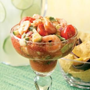 Coctel de Camarones This classic Mexican shrimp cocktail is usually served as a starter, but makes a quick, refreshing main dish on a busy night. Add some of your favorite hot sauce for extra kick. You can eat it immediately or chill it for up to 4 hours if you prefer it colder. Serve with: Warm corn tortillas or cheese quesadillas and your favorite hot sauce.