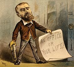 "1881 political cartoon showing Guiteau holding a gun and a note that says ""An office or your life!"" The caption for the cartoon reads ""Model Office Seeker""."