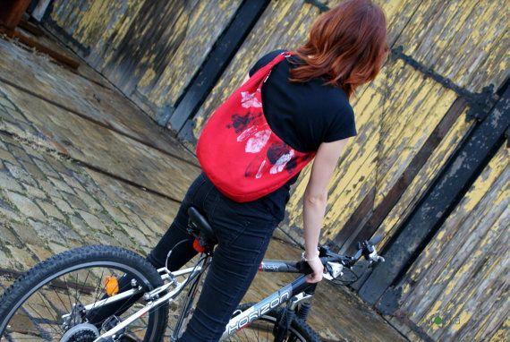 Bike Bag Red waterproof bag Handpainted bag with by KropkaDesign