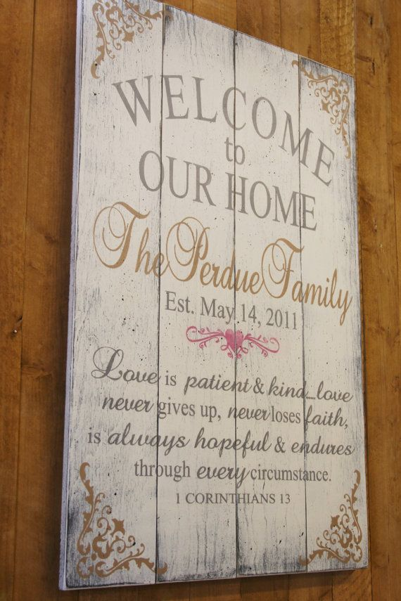 Welcome To Our Home Love Is Patient Pallet Sign Wedding