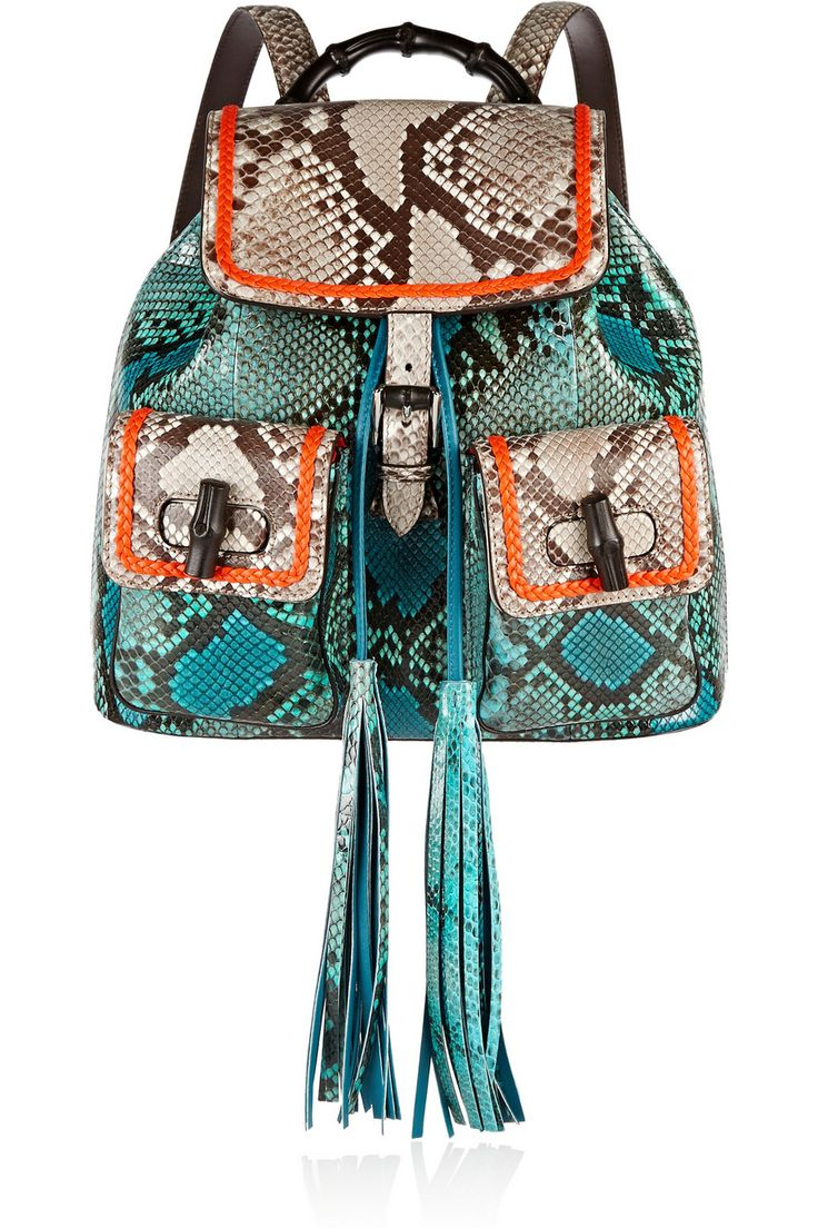 Gucci | Bamboo Sac leather-trimmed python backpack | NET-A-PORTER.COM