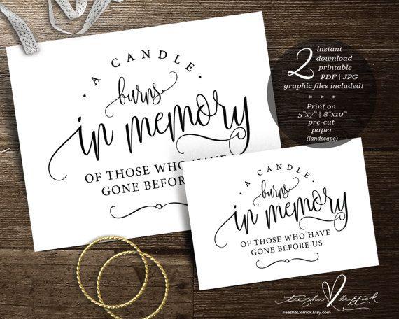 Instant download Printable In Loving Memory Wedding Memorial