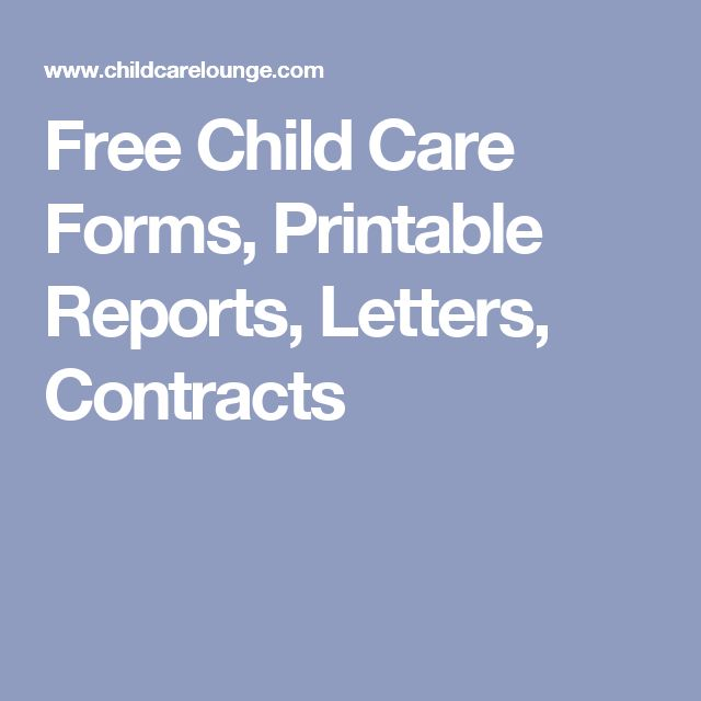 Free Child Care Forms, Printable Reports, Letters, Contracts