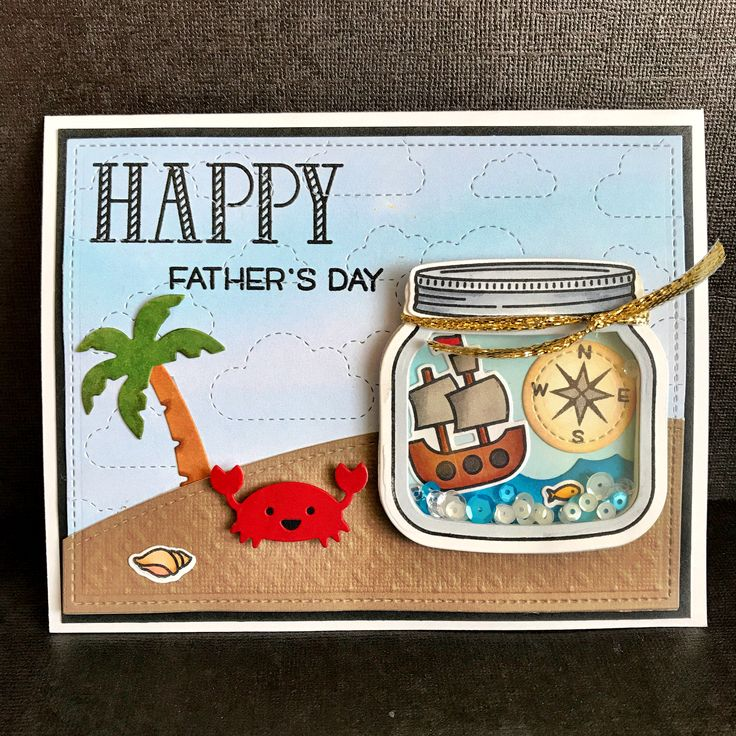 Lawn Fawn Ahoy Matey, stitched cloud backdrop, palm trees, how you bean, Happy happy happy, stitched simple hills, stitched rectangles, mermaid for you and puffy clouds turned upside down for the water. Father's Day shaker card by Apearl B