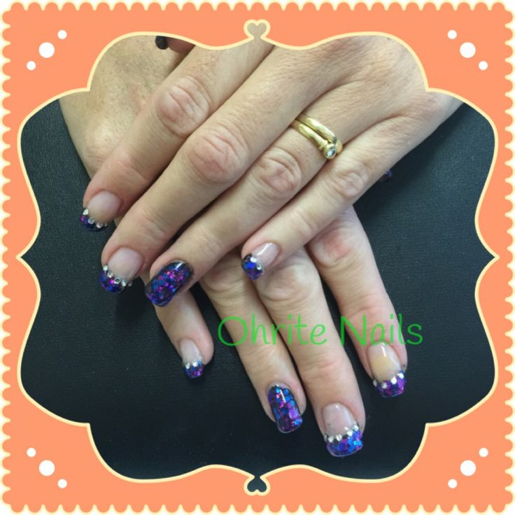 Purple people eater glitter nails for the birthday girl...