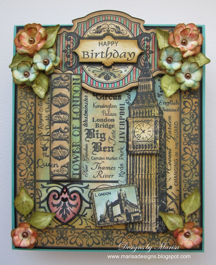 JustRite Papercraft London Background Stamp card designed by Marisa Job!!  Just gorgeous!!