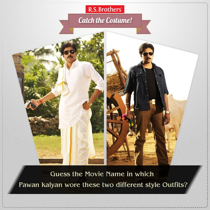 ‪#‎Catch‬ the ‪#‎Costume‬ Guess the Movie name? In which Movie ‪#‎PowerStar‬ Pawan kalyan wore these ‪#‎Trendy‬ & ‪#‎Traditional‬ ‪#‎Outfits‬ ? Share your answers in comments. (Image copyrights belong to their respective owners)
