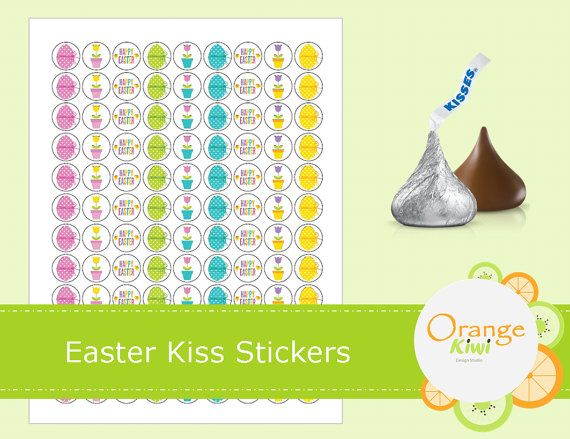 Easter Hershey Kiss Stickers  Easter Party by OrangeKiwiDesign