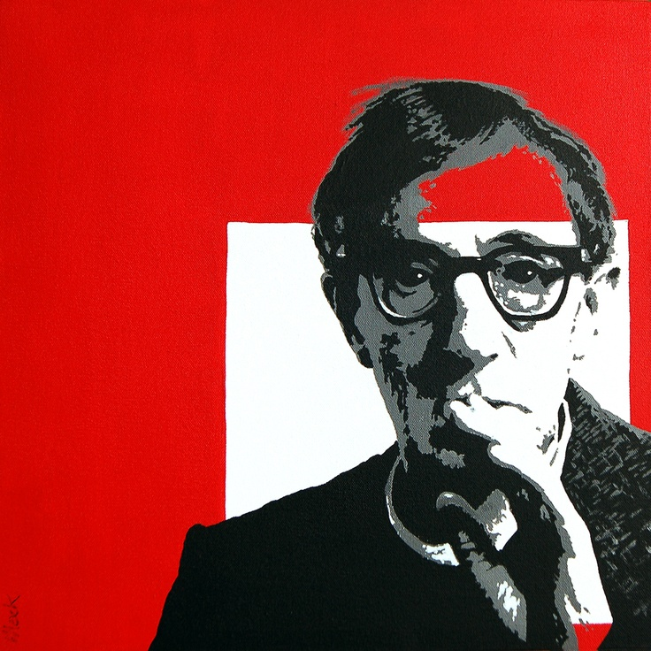 Portrait of Woody Allen by David Mack. Acrylic on canvas.