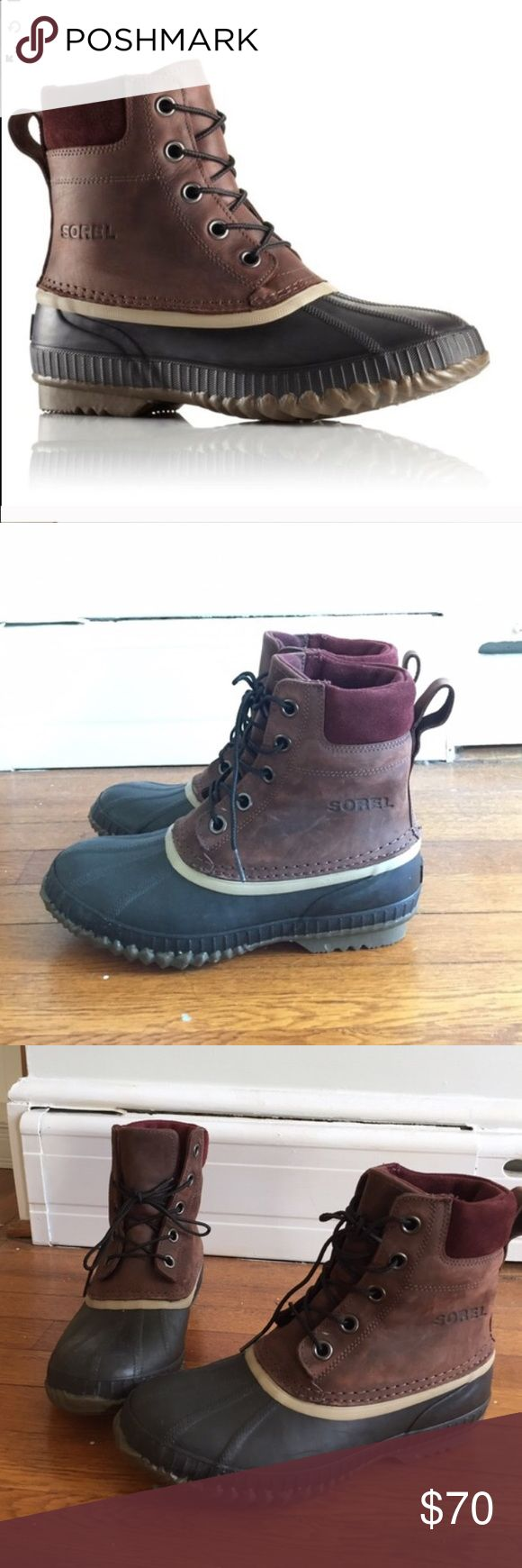Sorel winter boots! Super warm boots, great for cold weather and and snow. Worn once (only selling because I already have a pair of winter boots) so they're in great condition. They're a men's 7 but fit like a woman's 8 or 9. Great for men and women, just all around stellar boots everyone should own. Sorel Shoes Winter & Rain Boots