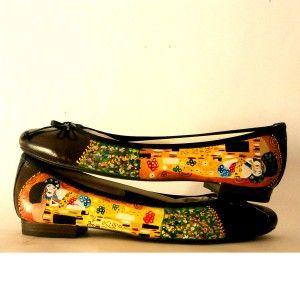 Scarpe dipinte a mano Ballerine Il Bacio - Klimt #scarpedipinteamano #ballerinedipinteamano #scarpedecorate #ilbaciodiklimt