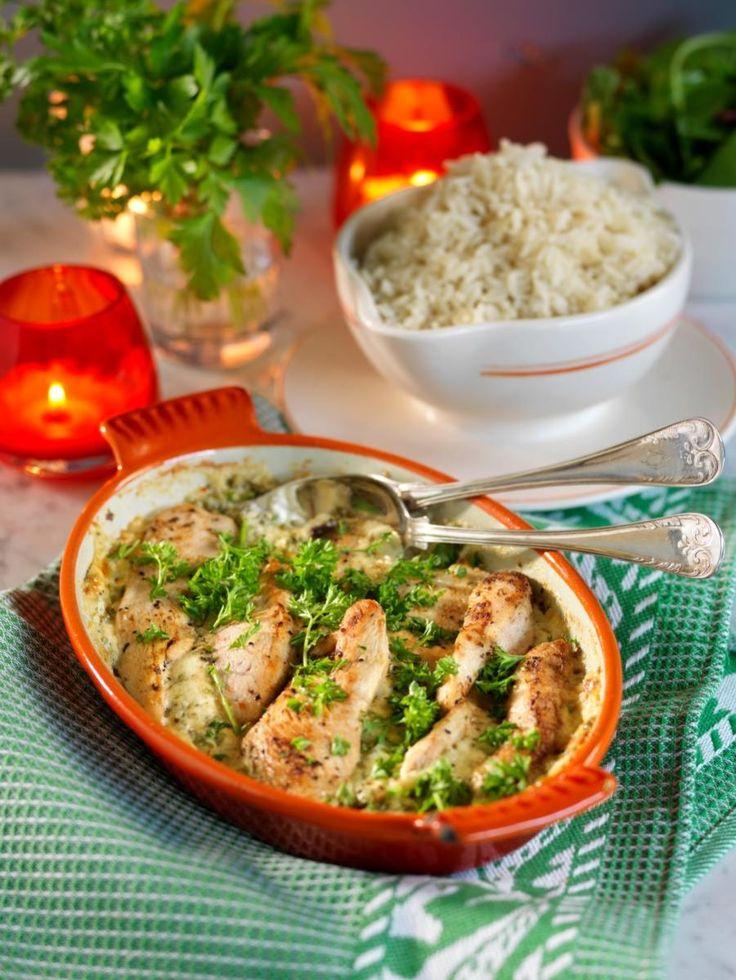 Snabb kycklinggratäng med parmesanost