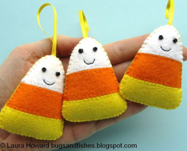 how to felt candy corn ornaments dont have any where to hang
