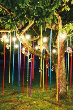 Fun Outdoor Birthday Party Décor Ideas I can pin these ribbons to the ceiling for the campfire theme