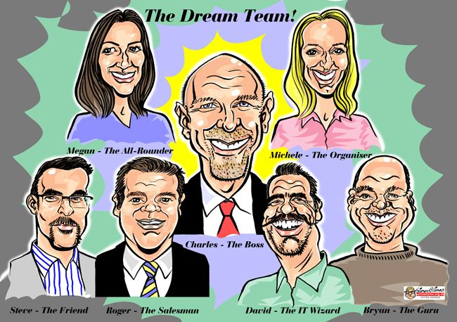 A MAINSTAY OF any professional caricaturist's working life, the group caricature as a leaving present can offer a variety of challenges.