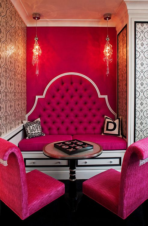 ♥ pink tufted seating♡