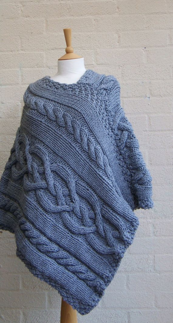 Chunky knit Celtic Grey Poncho/ Women Poncho/ by StripesnCables