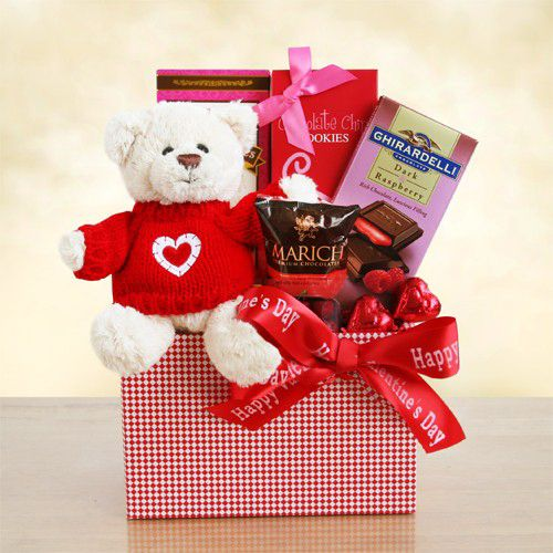 """Beary Happy Valentines Day! Wish them a """"Beary Happy Valentine's Day"""" with this adorable gift designed to delight. Our Valentine Bear is dressed in a bright red heart sweater and ready for hugs! They will feel the love and love the sweets, including delicious chocolate covered cherries, a Ghirardelli dark and raspberry bar, chocolate chip cookies, pastry cookies and red foil chocolate hearts. $39.99 #valentines"""