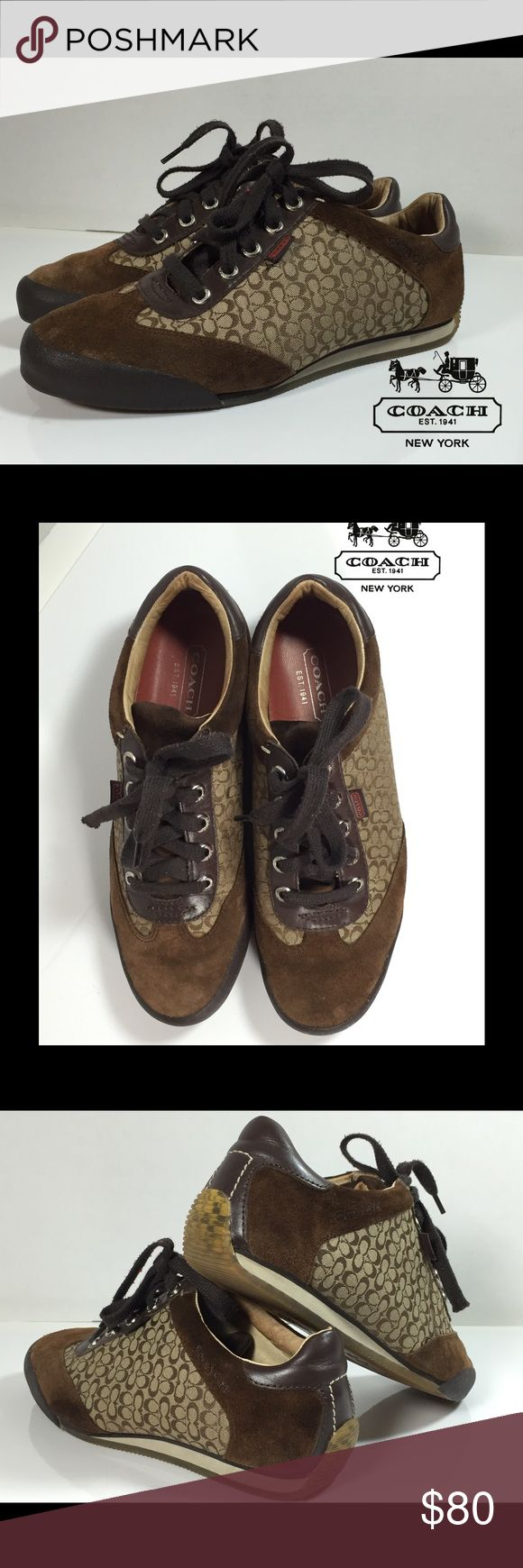 Suede Signature Coach Sneakers Chocolate brown suede signature Coach sneakers 👟   DESIGNER: Coach   RETAIL PRICE: $195. PRICE: $80. SIZE: 7.5 CONDITION: Gently Used DAMAGES: None Psst… Tell-A-Friend, LLC guarantees that ALL items are 100% authentic. RETURN AND REFUND POLICY For return and refund policy details check our FAQ page. Coach Shoes Athletic Shoes