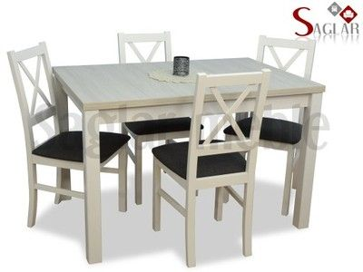 4 krzesła i stół! Biały zestaw JARI II Tanio!